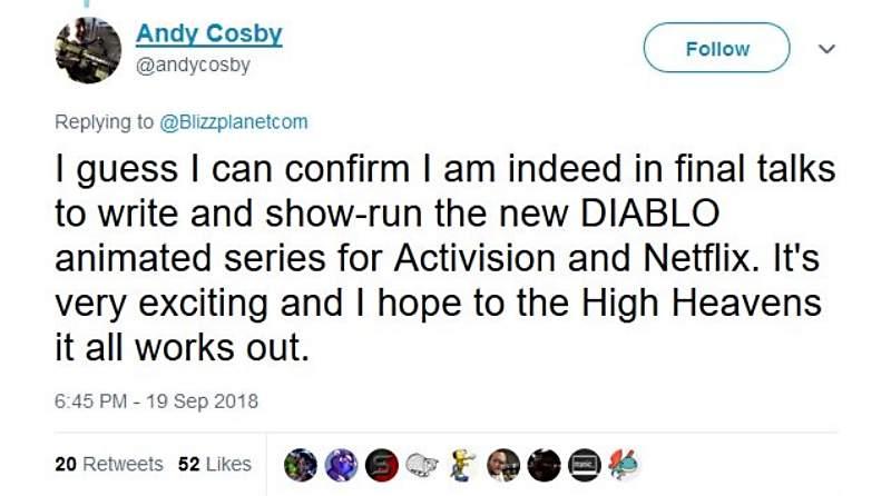 《暗黑破坏神》动画化 动画制作人Andy Cosby无意爆料