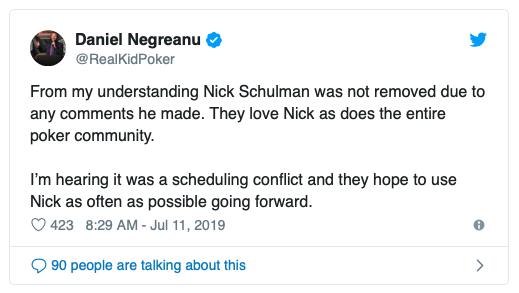 丹牛发推说Nick Schulman并未因不当言论被节目组开除