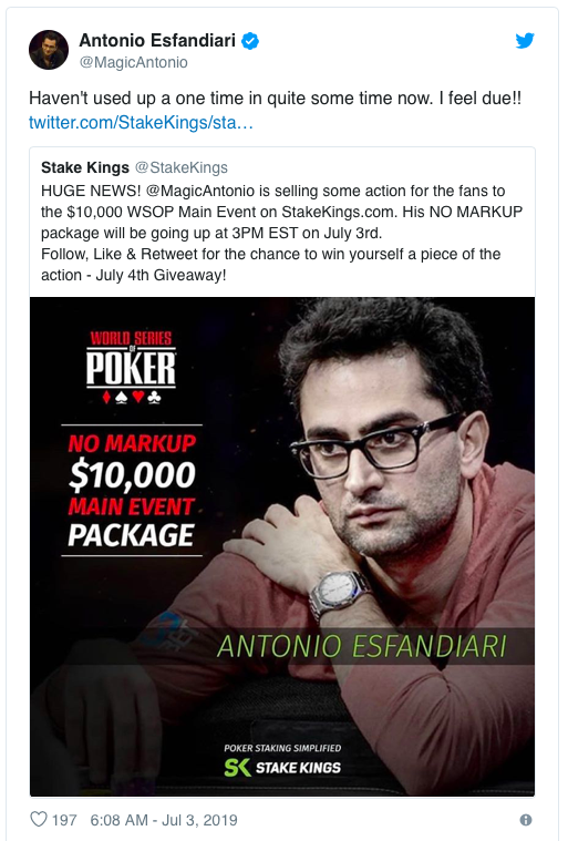 Antonio Esfandiari获得WSOP主赛第82名,奖金$82,365!