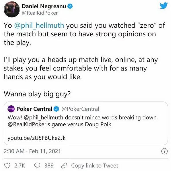 电视时代扑克双巨头能否再次聚首 丹牛向Phil Hellmuth发起单挑战