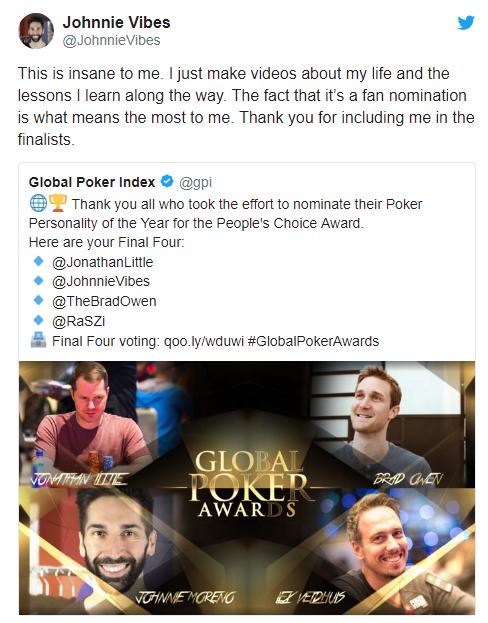 全球扑克奖投票群众更看好多位Vlogger和主播