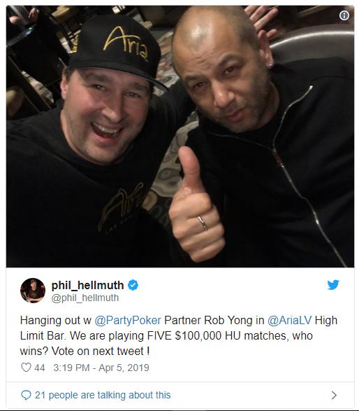 Hellmuth & Yong约定单挑局,每场 $100K,共五场