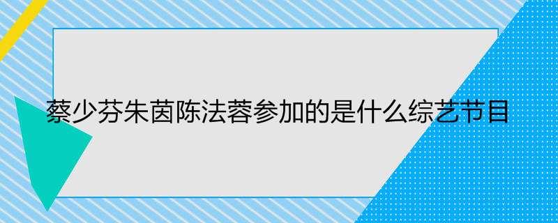 蔡少芬朱茵陈法蓉参加的是什么综艺节目