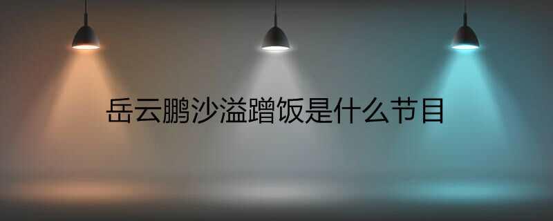 岳云鹏沙溢蹭饭是什么节目